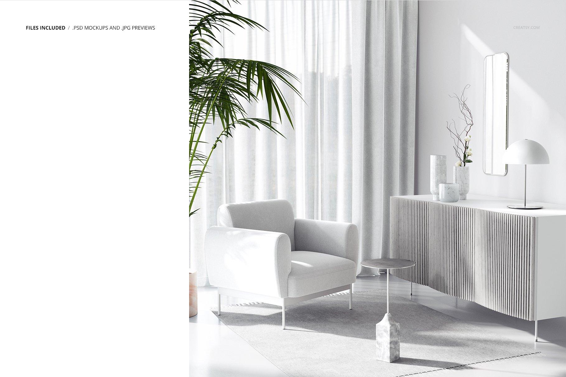 时尚室内沙发印花图案设计贴图PSD样机模板 Interior Scene Mockup插图2