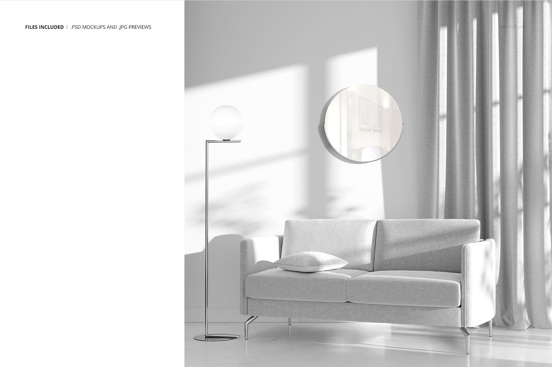 带阴影室内双人沙发印花图案设计PS贴图样机模板 Interior Scene Mockup插图2