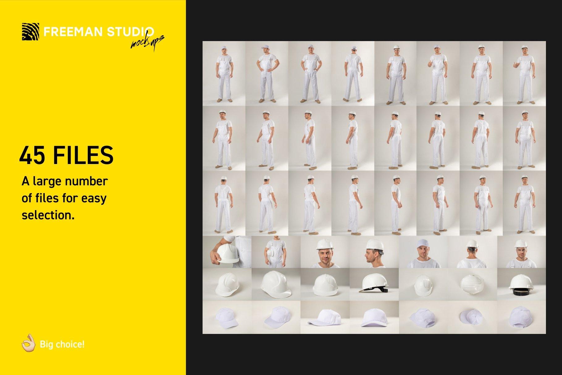 45个超大工装帽子安全帽品牌Logo设计智能贴图样机PSD模版素材 Working Overalls Suit Mock-Up Set插图2