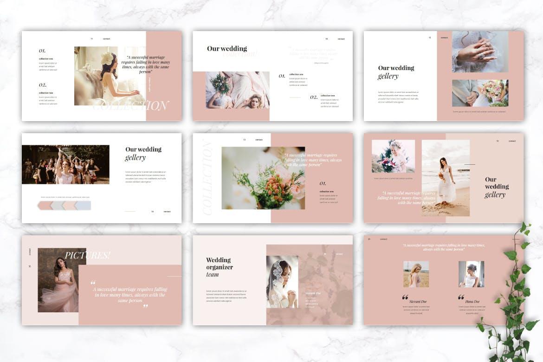 精美粉色系婚礼摄影作品集演示文稿设计模板 GARSIA – Wedding Organization Powerpoint Template插图2