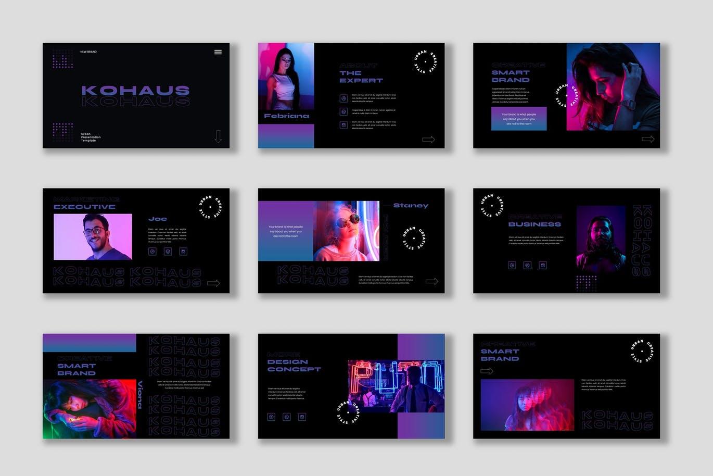 潮流霓虹效果摄影作品集设计Keynote演示文稿模板 Kohaus Keynote Template插图2