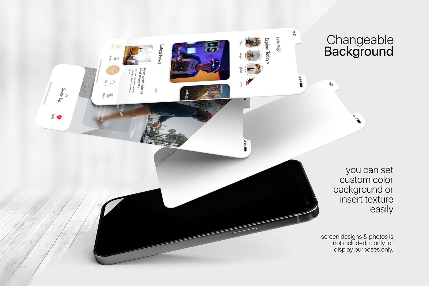 15个自适应网页APP界面设计苹果设备屏幕演示样机模板 UI/UX App Presentation – Phone & Notebook Mockup插图2