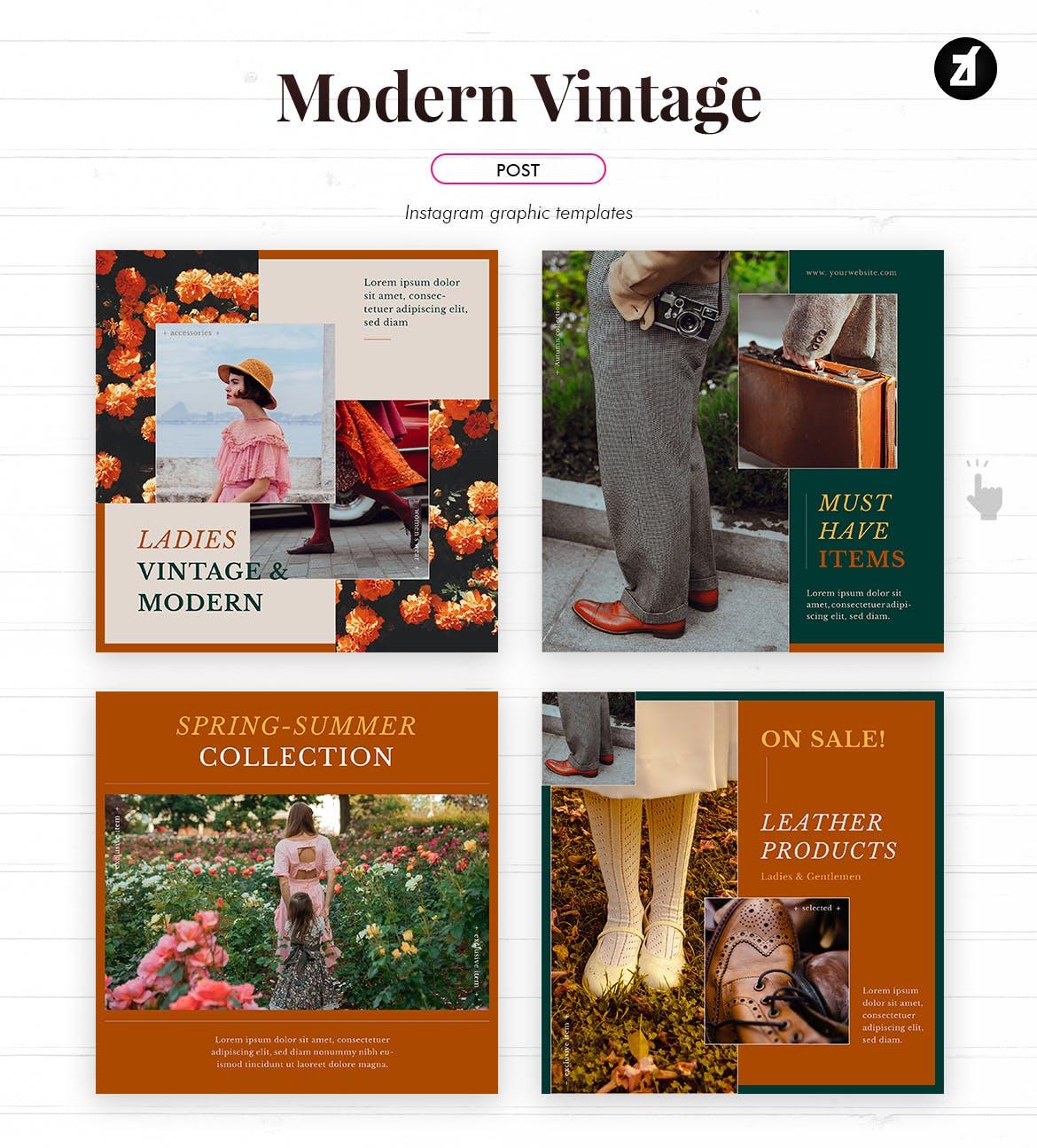 现代复古服装品牌推广新媒体电商海报PSD模板 Modern Vintage Social Media Graphic Templates插图2