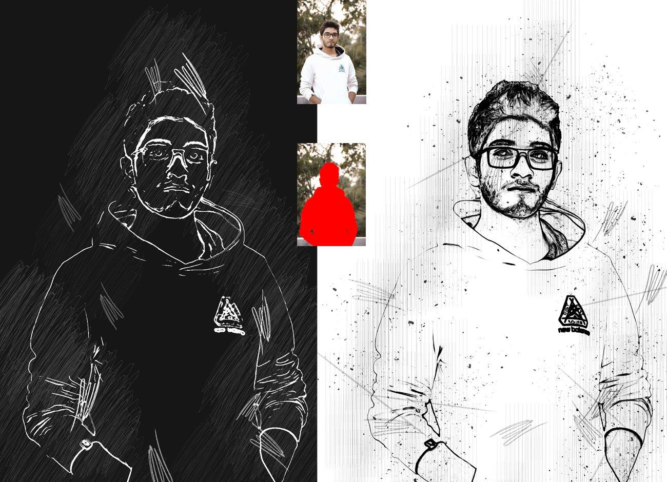 黑白素描艺术画效果照片处理特效PS动作素材 Black & White Sketch PS Action插图4