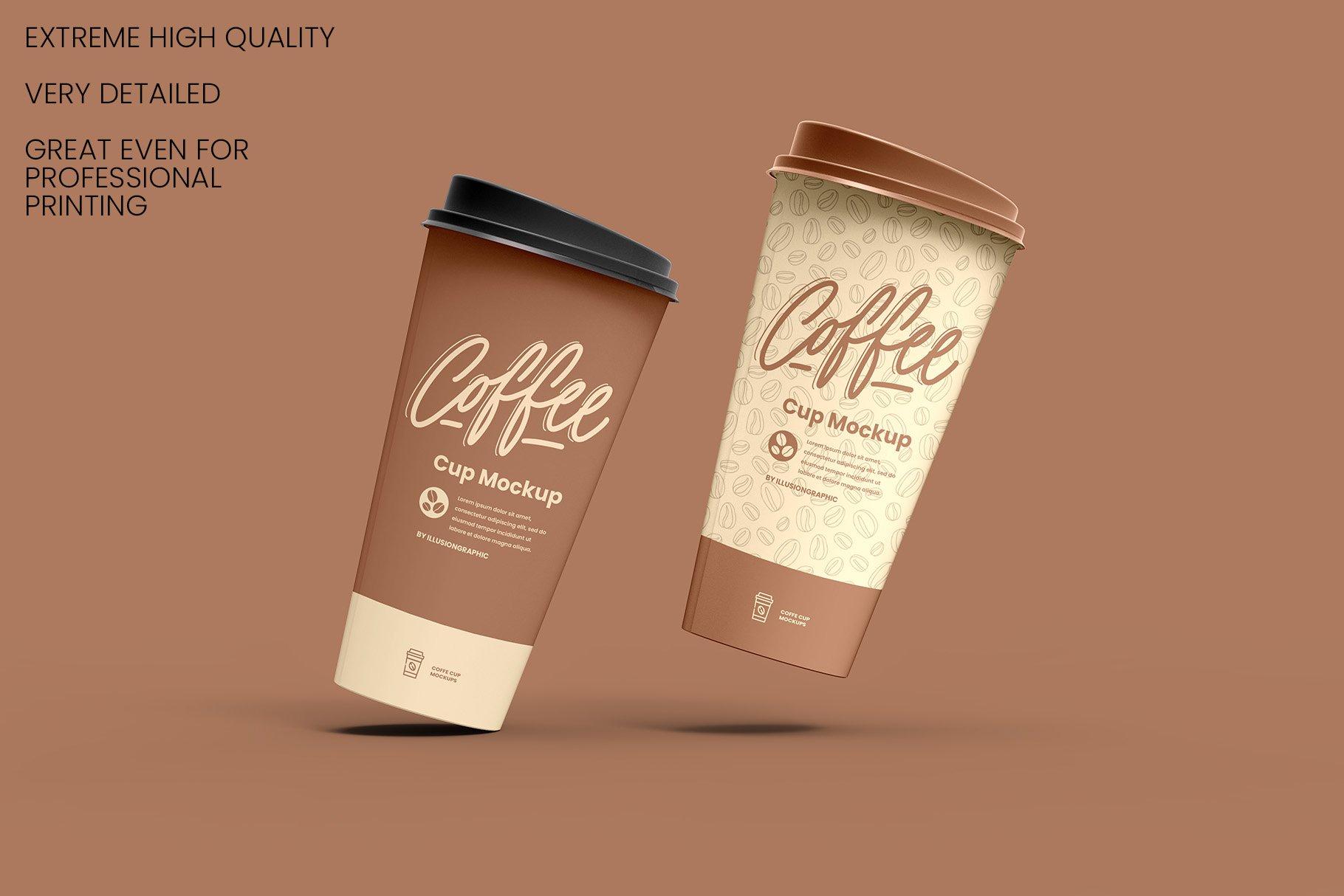 8个一次性咖啡外卖纸杯设计贴图样机模板 Coffee Cup Mockup – 8 views插图3