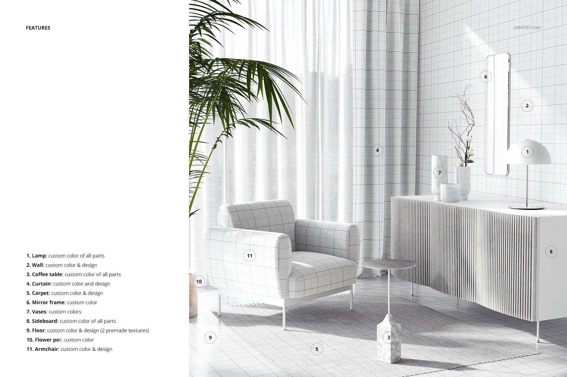 时尚室内沙发印花图案设计贴图PSD样机模板 Interior Scene Mockup插图3