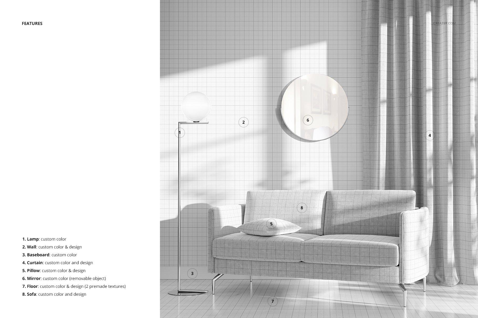 带阴影室内双人沙发印花图案设计PS贴图样机模板 Interior Scene Mockup插图3