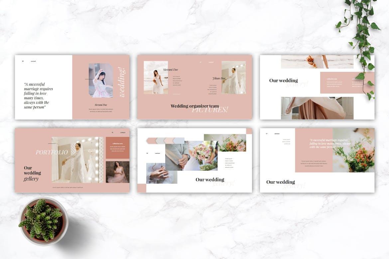精美粉色系婚礼摄影作品集演示文稿设计模板 GARSIA – Wedding Organization Powerpoint Template插图3