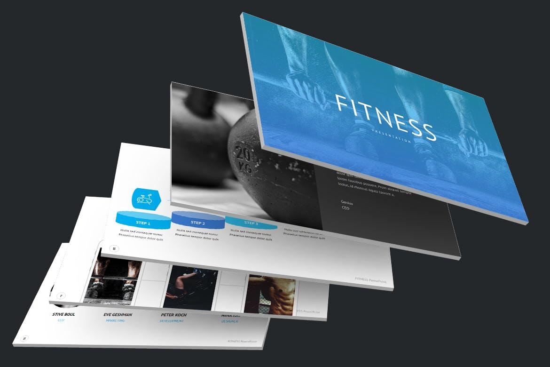 时尚简约健身主题营销策划演示文稿设计模板 Fitness and Gym – PowerPoint Template插图3