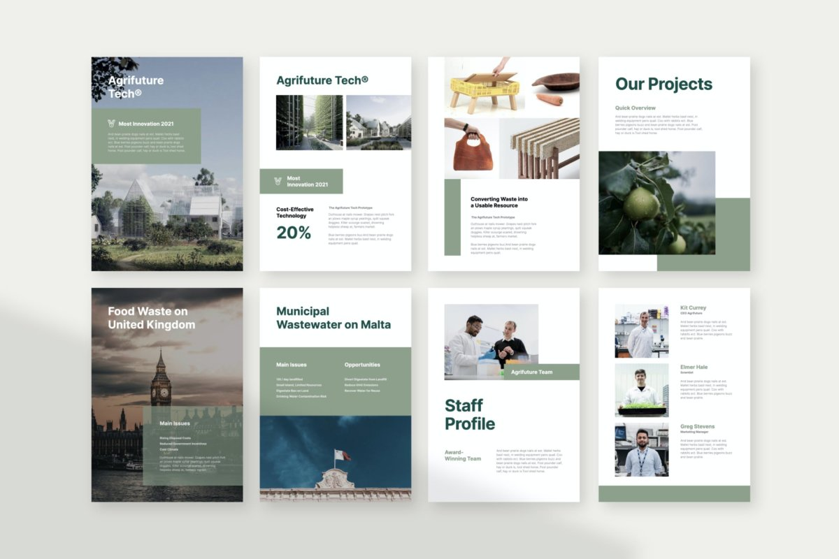 极简主义垂直公司业务营销策划演示文稿PPT+Keynote设计模板 Agrifuture – Vertical Company Profile Presentation插图3