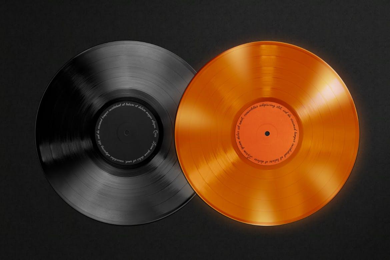 复古黑胶唱片包装袋设计PS贴图样机模板 Vinyl Record & Cover Mockup插图3