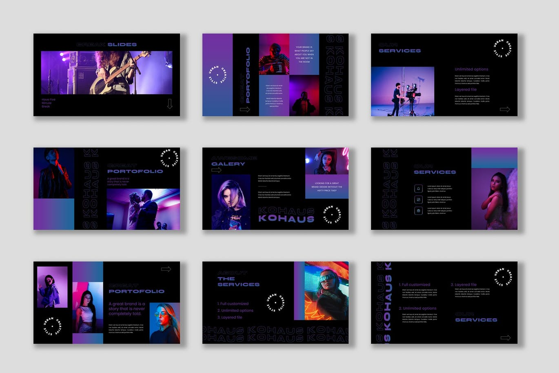 潮流霓虹效果摄影作品集设计Keynote演示文稿模板 Kohaus Keynote Template插图3