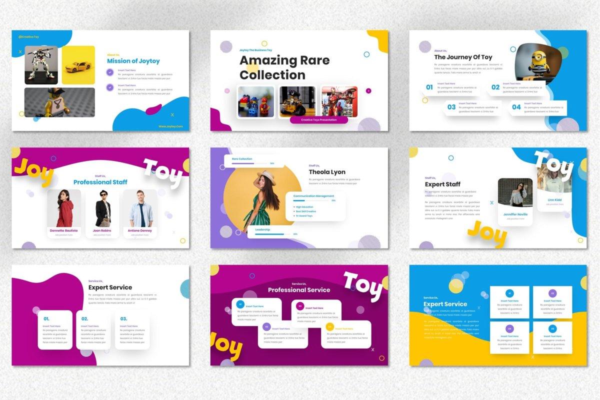 创意炫彩儿童主题作品集演示文稿设计模板 Joytoy – Kids Toy Powerpoint Templates插图3