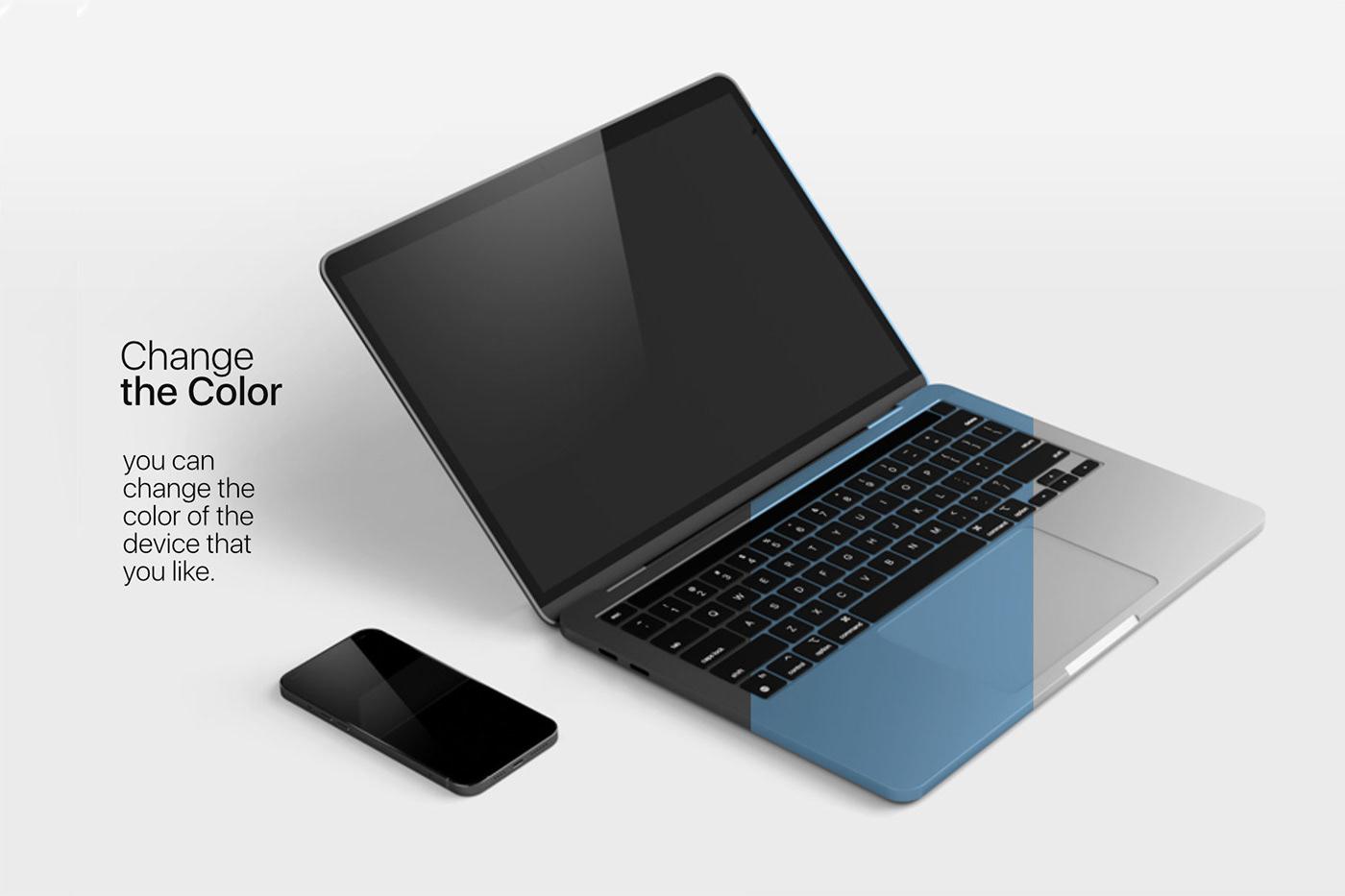 15个自适应网页APP界面设计苹果设备屏幕演示样机模板 UI/UX App Presentation – Phone & Notebook Mockup插图3