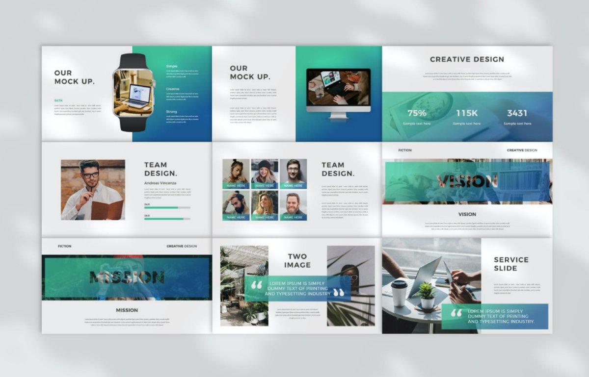优雅企业作品集演示文稿设计模板 Fiction Business PowerPoint插图3