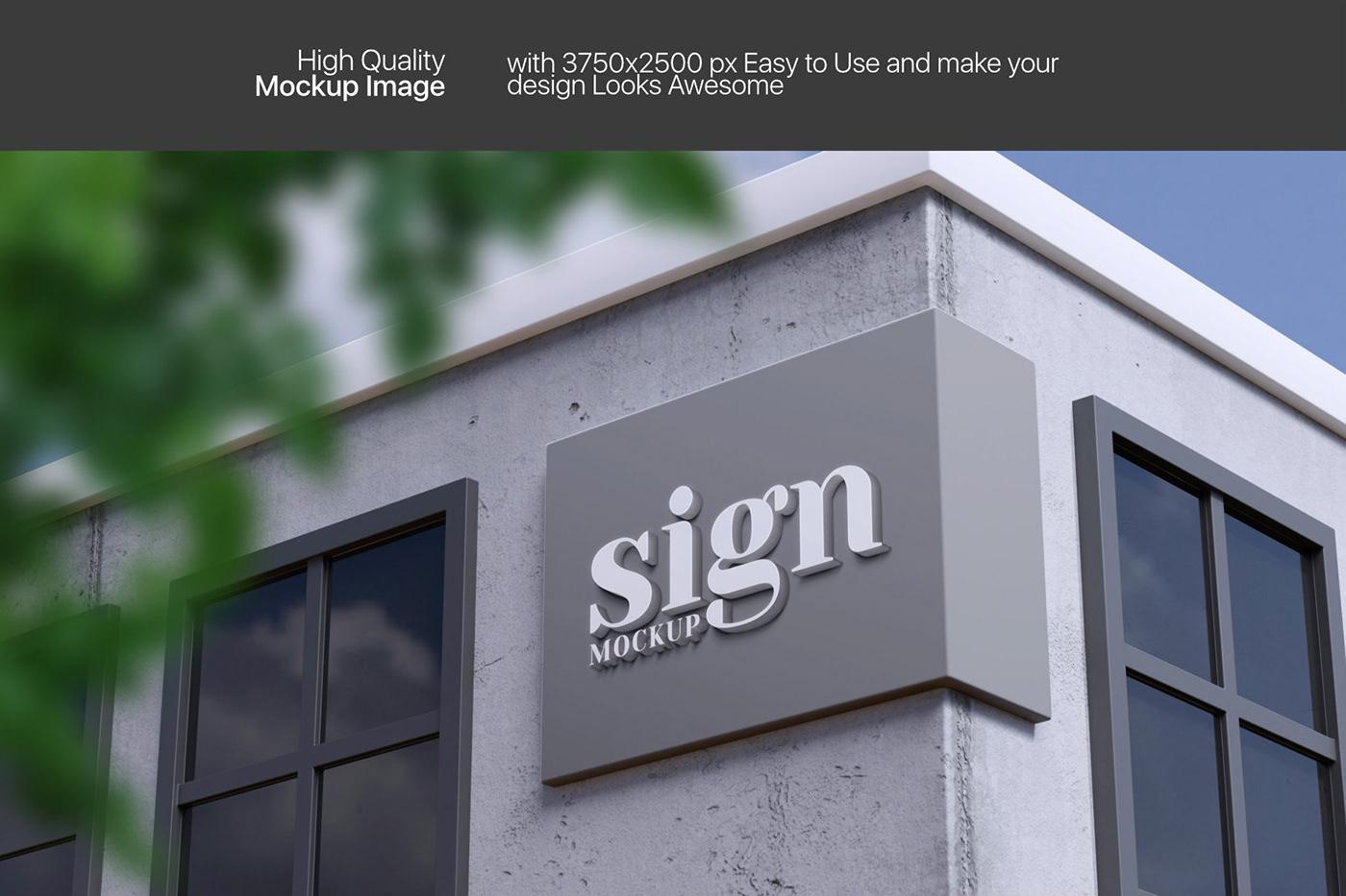 10个3D立体徽标标牌设计展示样机模板 3D Logo & Sign Mockup插图3