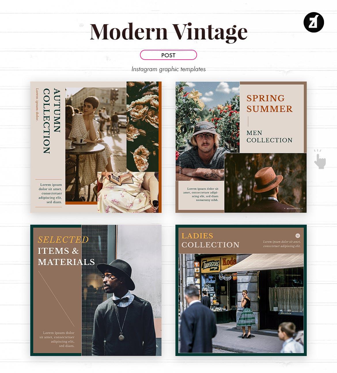 现代复古服装品牌推广新媒体电商海报PSD模板 Modern Vintage Social Media Graphic Templates插图3