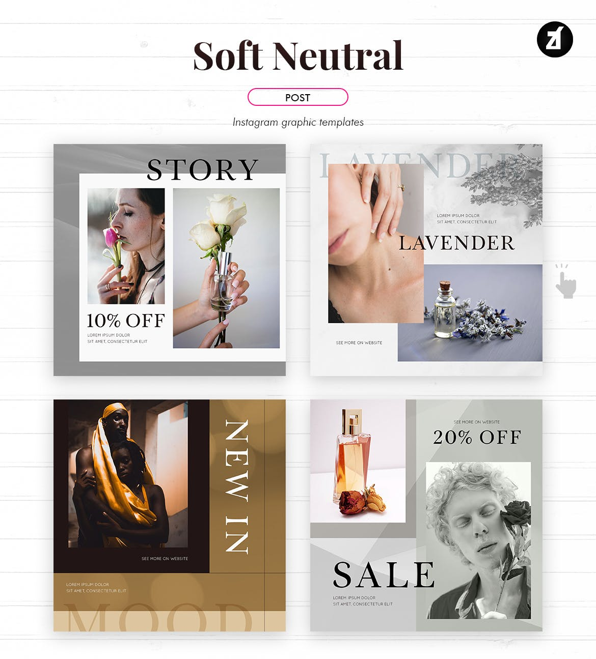 时尚化妆护肤品品牌推广新媒体电商海报模板 Soft Neutral Social Media Graphic Templates插图3