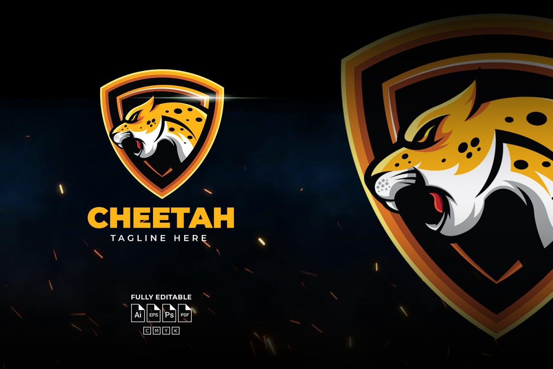 黄色质感猎豹徽标Logo设计模板 Yellow Cheetah Logo Template插图