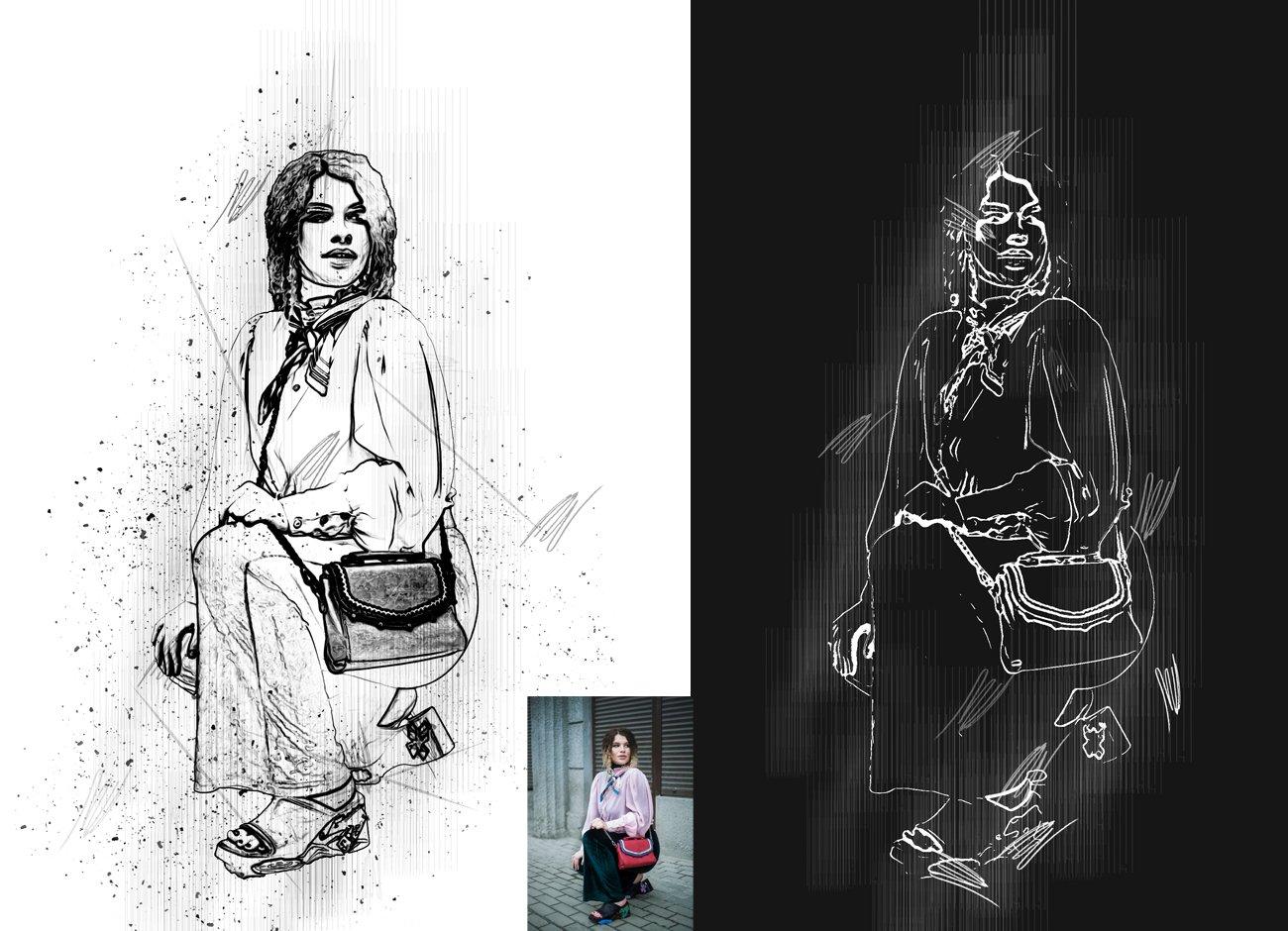 黑白素描艺术画效果照片处理特效PS动作素材 Black & White Sketch PS Action插图5