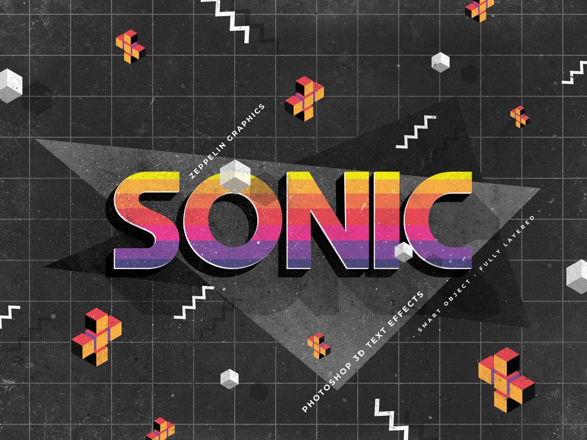 10个复古90年代3D立体标题徽标Logo设计PS样机模板素材 90s Text Effects插图4