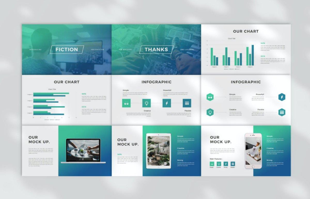 优雅企业作品集演示文稿设计模板 Fiction Business PowerPoint插图4