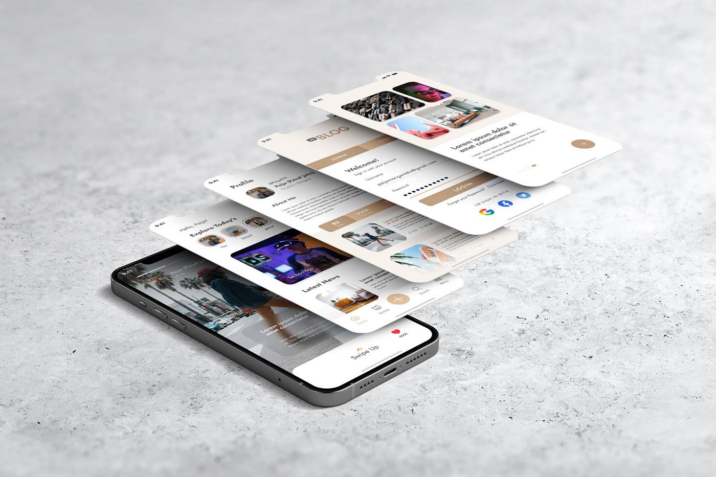 15个自适应网页APP界面设计苹果设备屏幕演示样机模板 UI/UX App Presentation – Phone & Notebook Mockup插图4