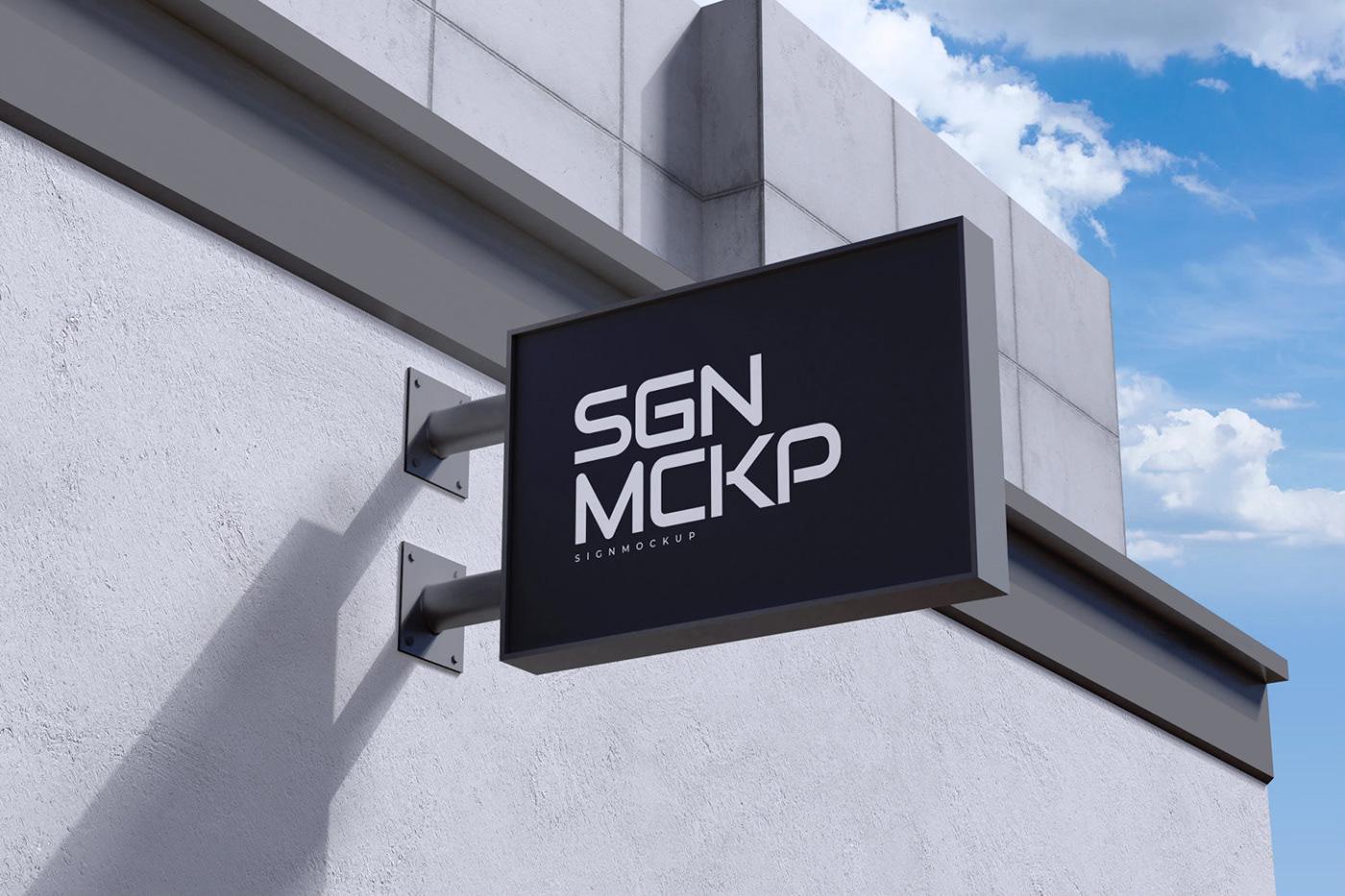 10个3D立体徽标标牌设计展示样机模板 3D Logo & Sign Mockup插图4