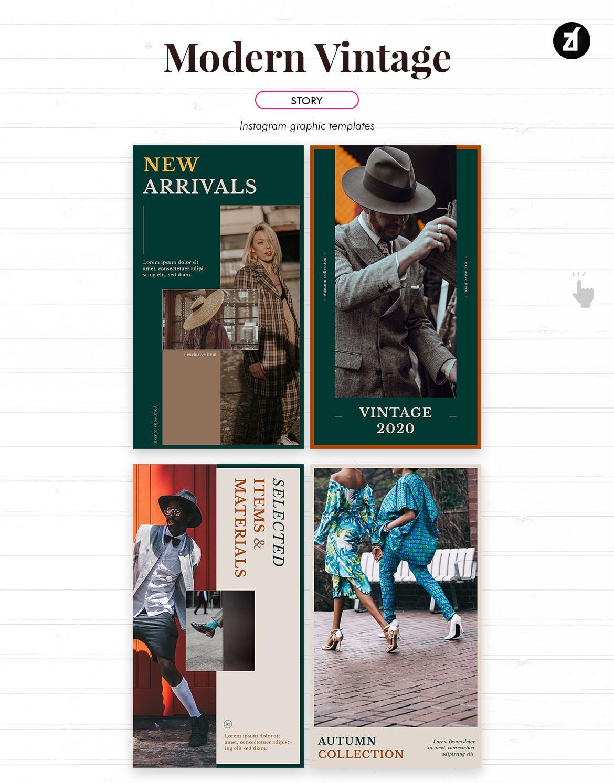 现代复古服装品牌推广新媒体电商海报PSD模板 Modern Vintage Social Media Graphic Templates插图4