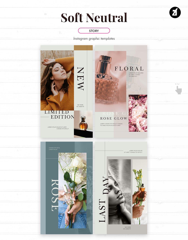 时尚化妆护肤品品牌推广新媒体电商海报模板 Soft Neutral Social Media Graphic Templates插图4