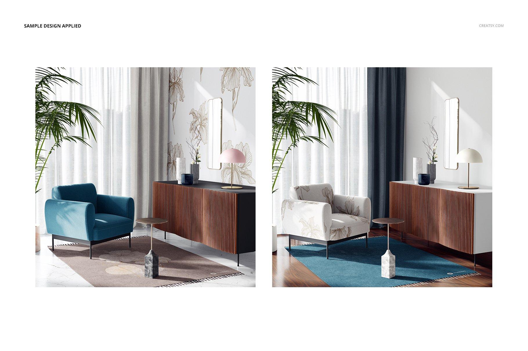 时尚室内沙发印花图案设计贴图PSD样机模板 Interior Scene Mockup插图4
