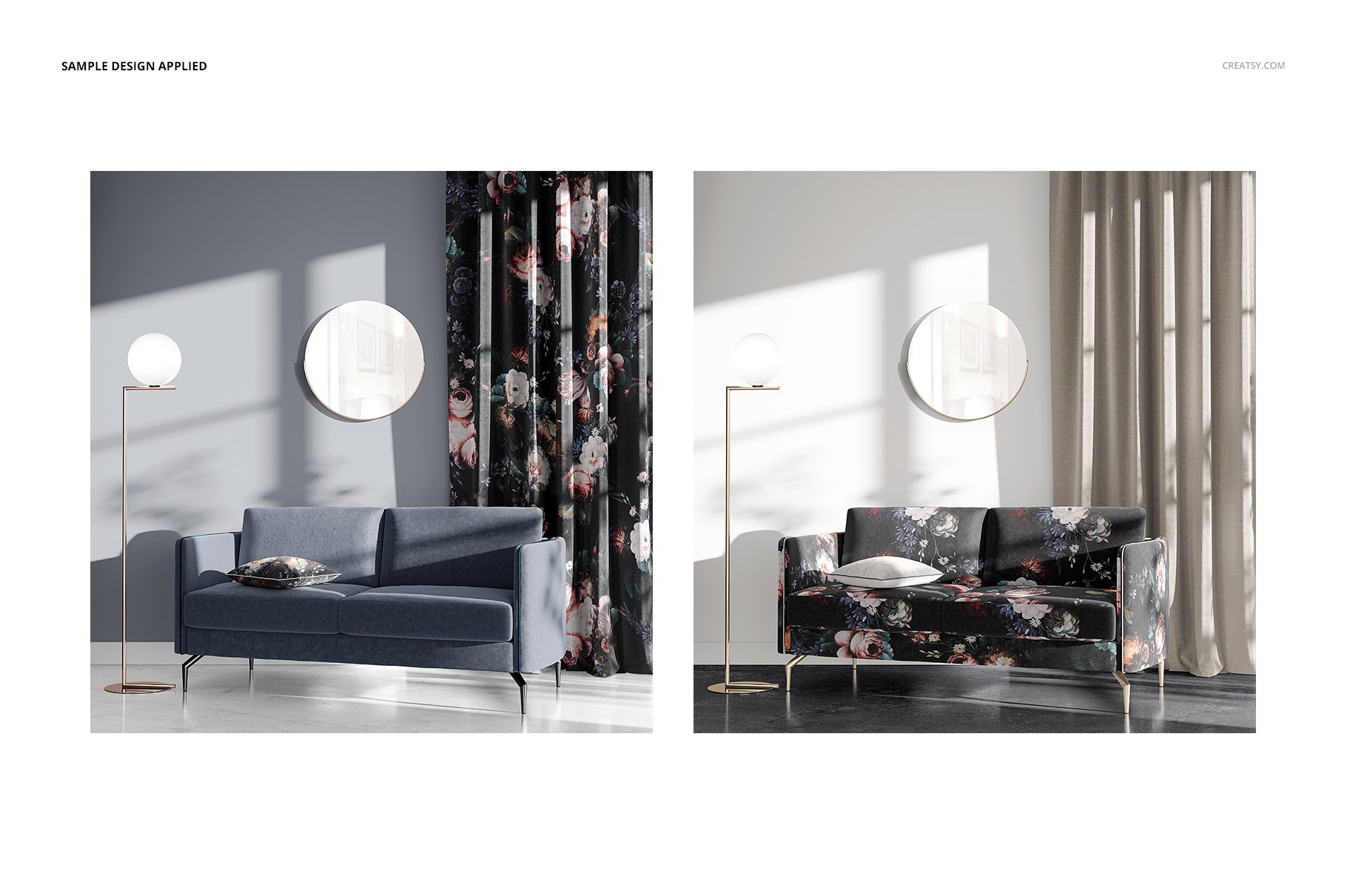 带阴影室内双人沙发印花图案设计PS贴图样机模板 Interior Scene Mockup插图4