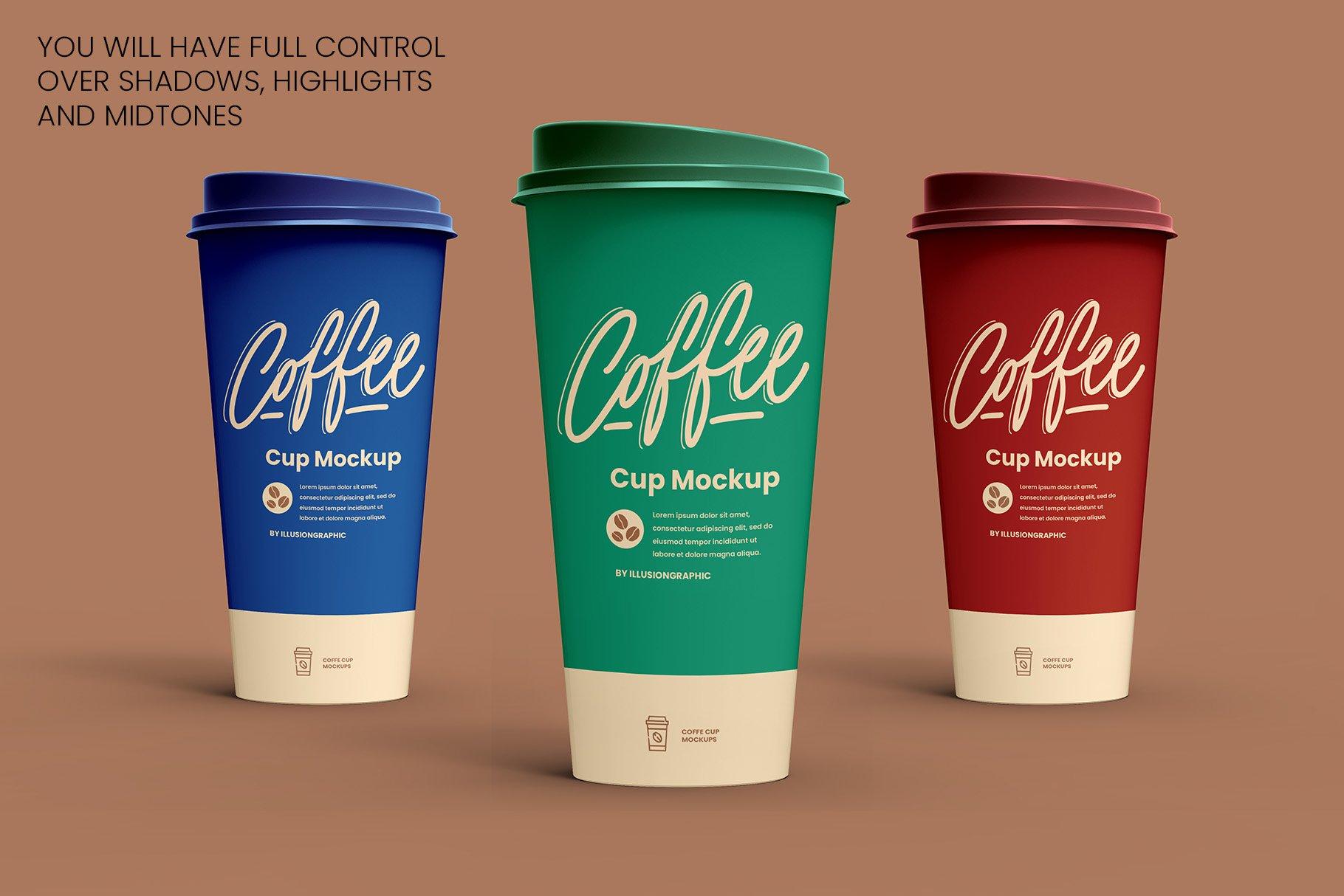 8个一次性咖啡外卖纸杯设计贴图样机模板 Coffee Cup Mockup – 8 views插图5