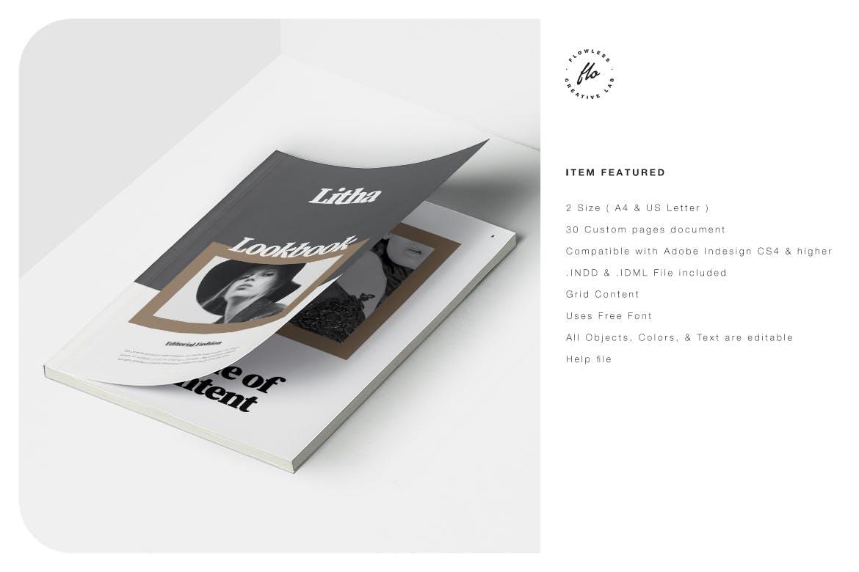 时尚服装设计作品集排版设计INDD画册模版 Litha Editorial Fashion Lookbook插图5