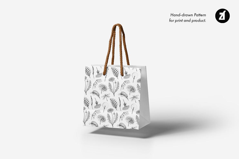 复古蒲公英手绘插画背景图案PS设计素材 Dandelion vintage illustration and pattern插图5