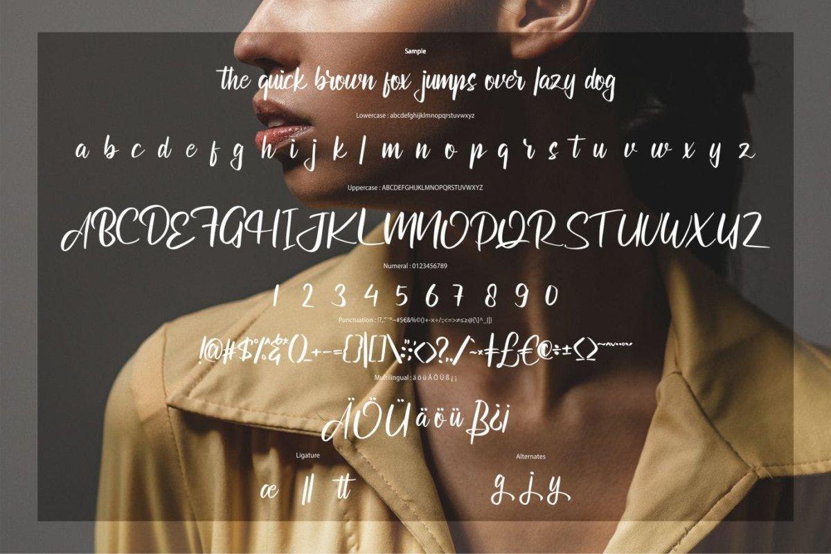 现代毛笔书法风格海报贺卡邀请函设计手写英文字体 Astilula | Modern New Script Font插图5
