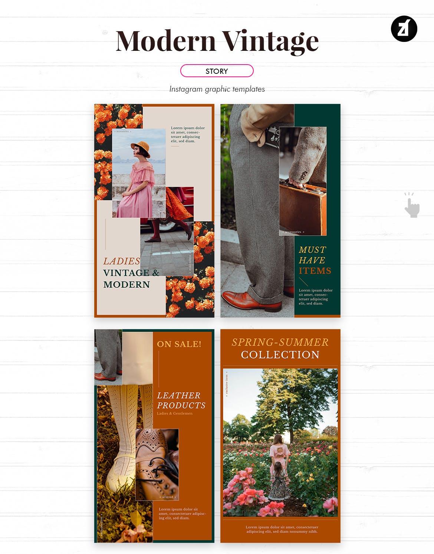 现代复古服装品牌推广新媒体电商海报PSD模板 Modern Vintage Social Media Graphic Templates插图5
