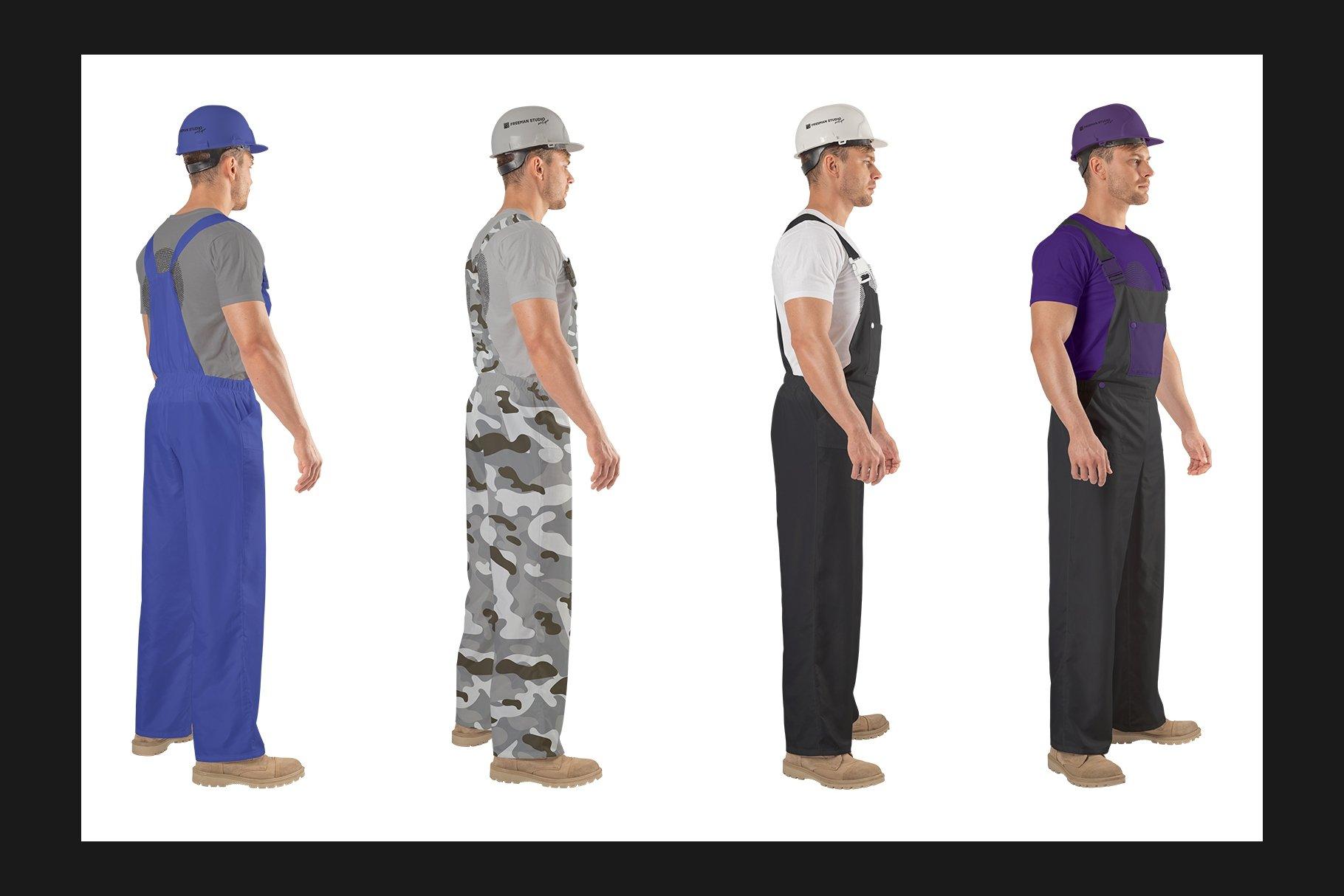 45个超大工装帽子安全帽品牌Logo设计智能贴图样机PSD模版素材 Working Overalls Suit Mock-Up Set插图5