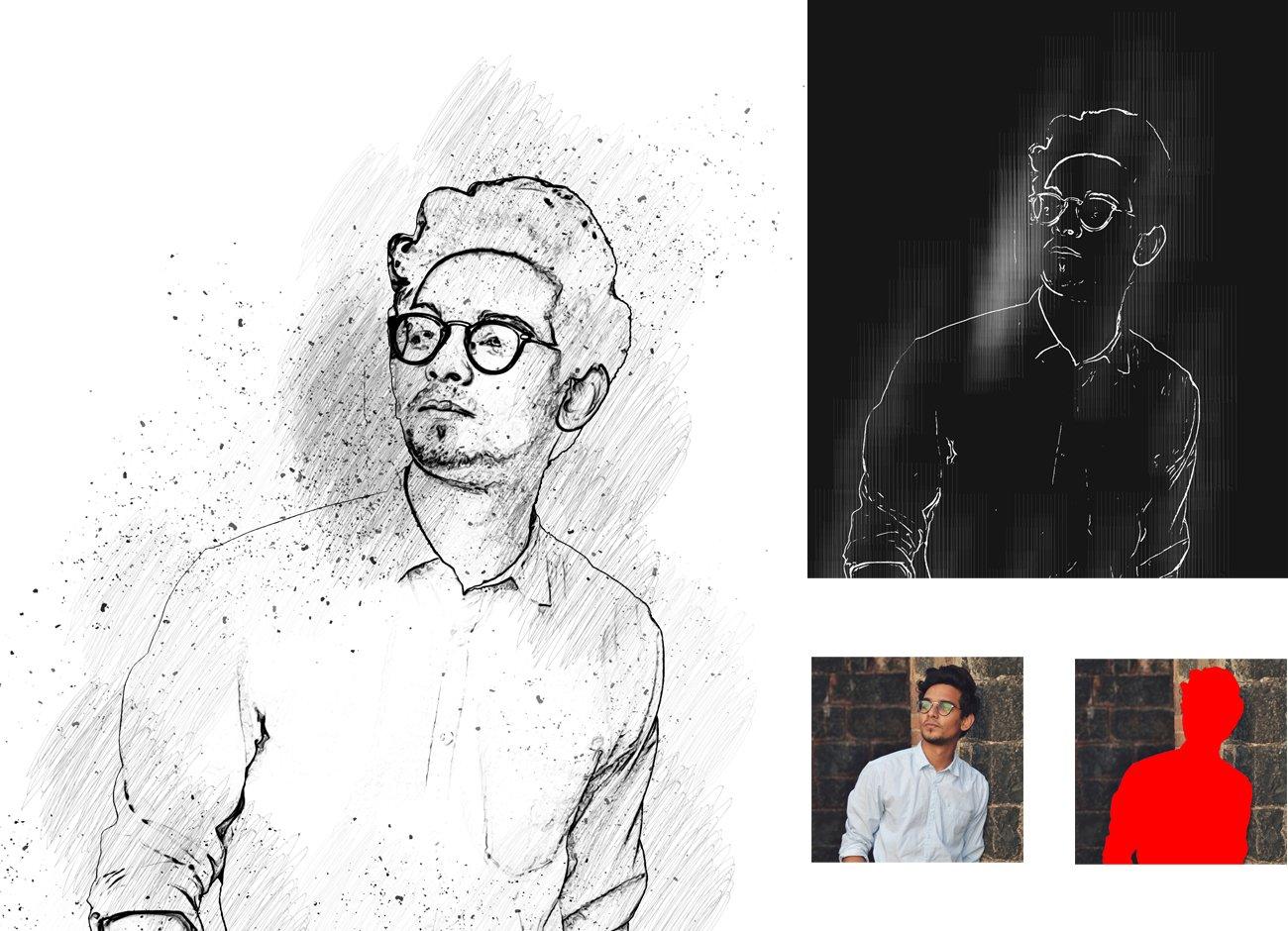 黑白素描艺术画效果照片处理特效PS动作素材 Black & White Sketch PS Action插图7
