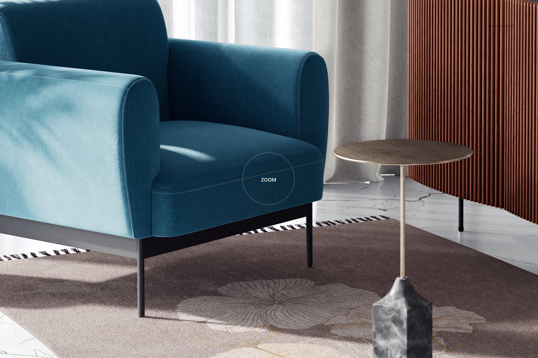 时尚室内沙发印花图案设计贴图PSD样机模板 Interior Scene Mockup插图5