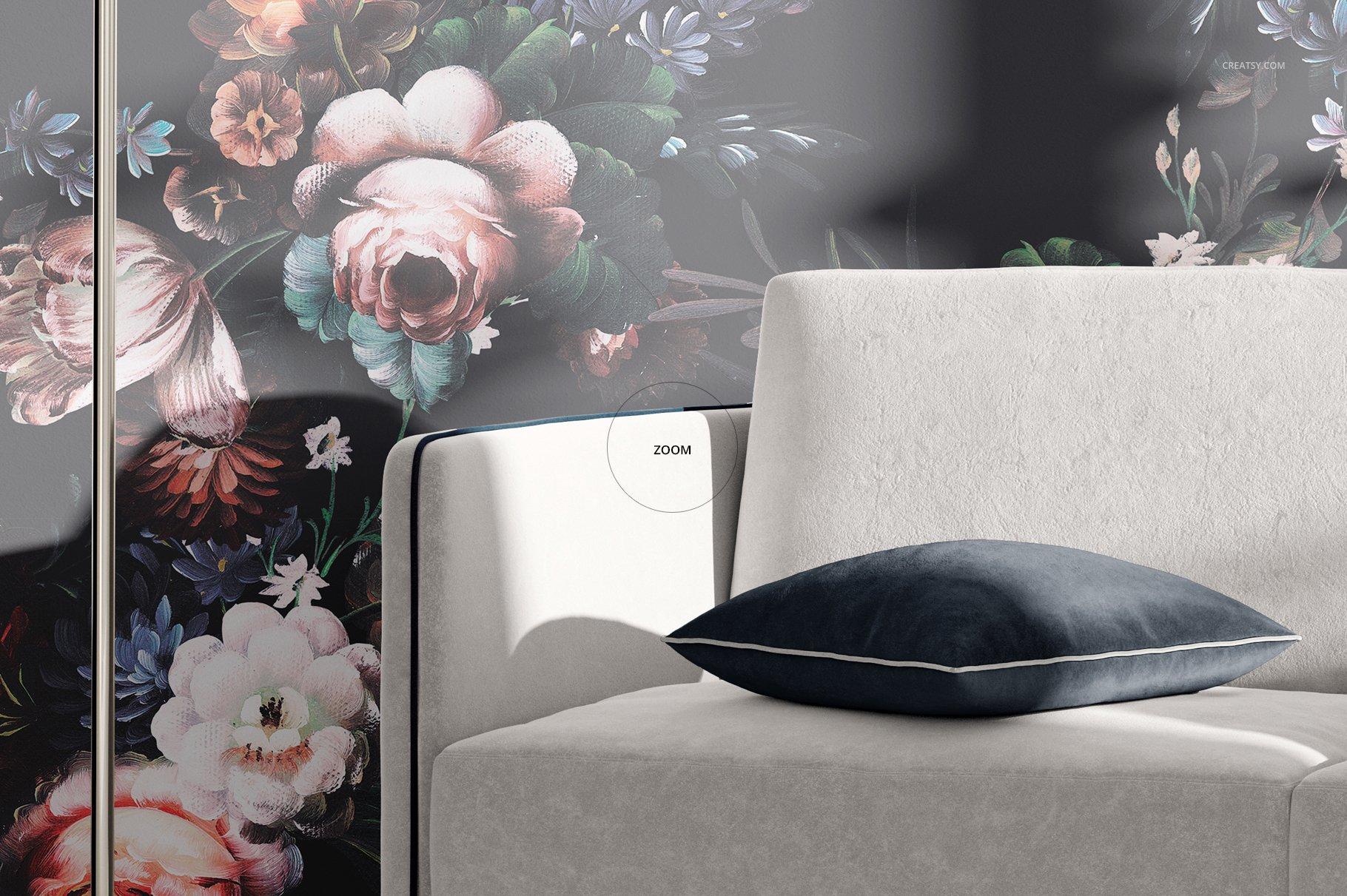 带阴影室内双人沙发印花图案设计PS贴图样机模板 Interior Scene Mockup插图5