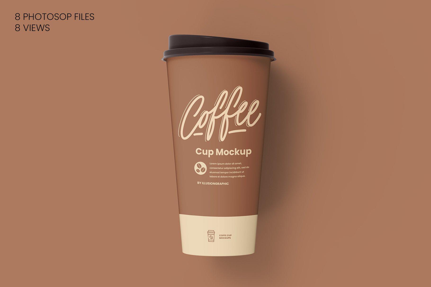 8个一次性咖啡外卖纸杯设计贴图样机模板 Coffee Cup Mockup – 8 views插图6