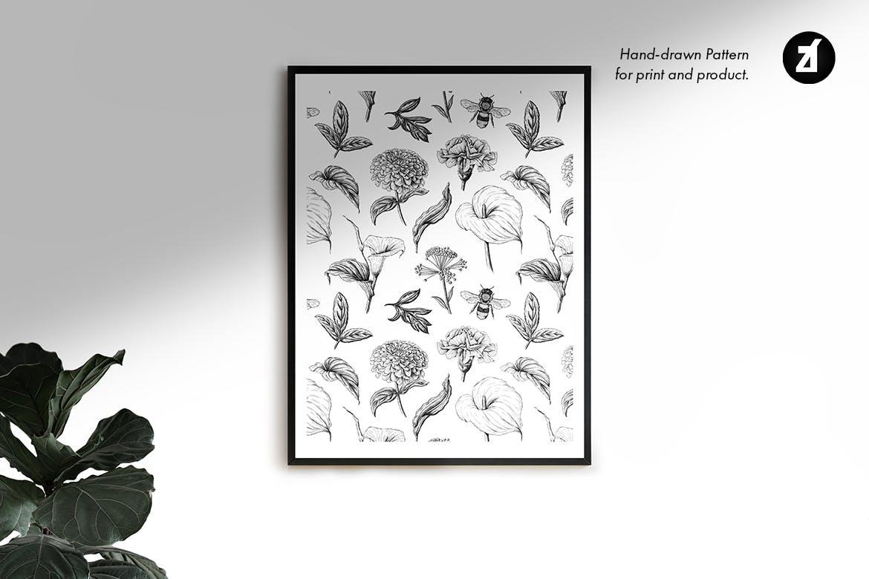 复古蒲公英手绘插画背景图案PS设计素材 Dandelion vintage illustration and pattern插图6