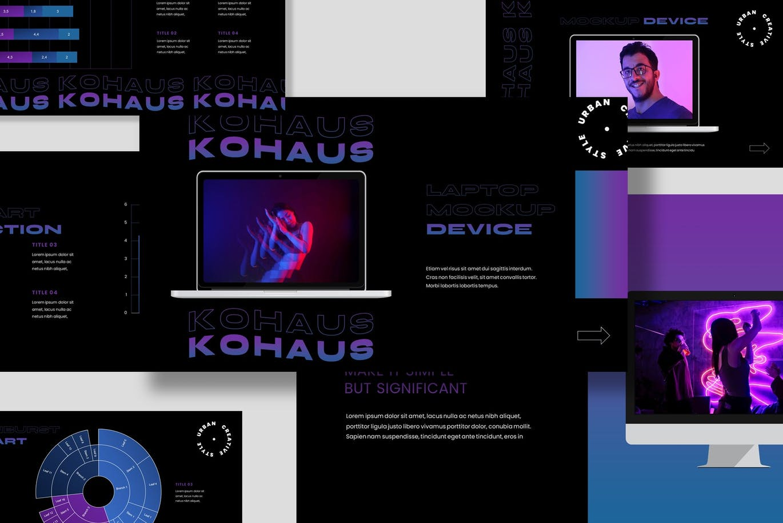 潮流霓虹效果摄影作品集设计Keynote演示文稿模板 Kohaus Keynote Template插图6