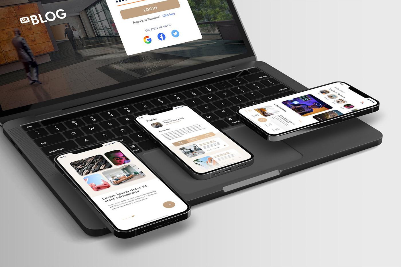15个自适应网页APP界面设计苹果设备屏幕演示样机模板 UI/UX App Presentation – Phone & Notebook Mockup插图6