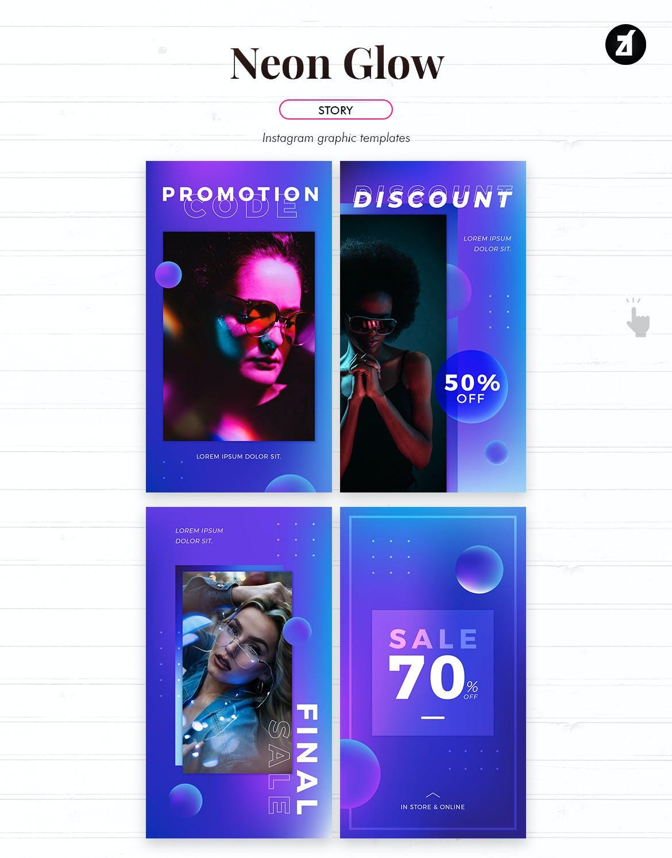 潮流霓虹灯效果品牌推广新媒体电商海报模板 Neon Glow Social Media Graphic Templates插图6