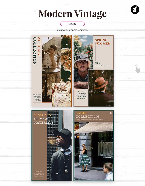 现代复古服装品牌推广新媒体电商海报PSD模板 Modern Vintage Social Media Graphic Templates插图6