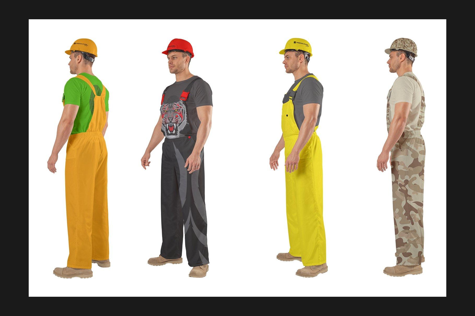 45个超大工装帽子安全帽品牌Logo设计智能贴图样机PSD模版素材 Working Overalls Suit Mock-Up Set插图6