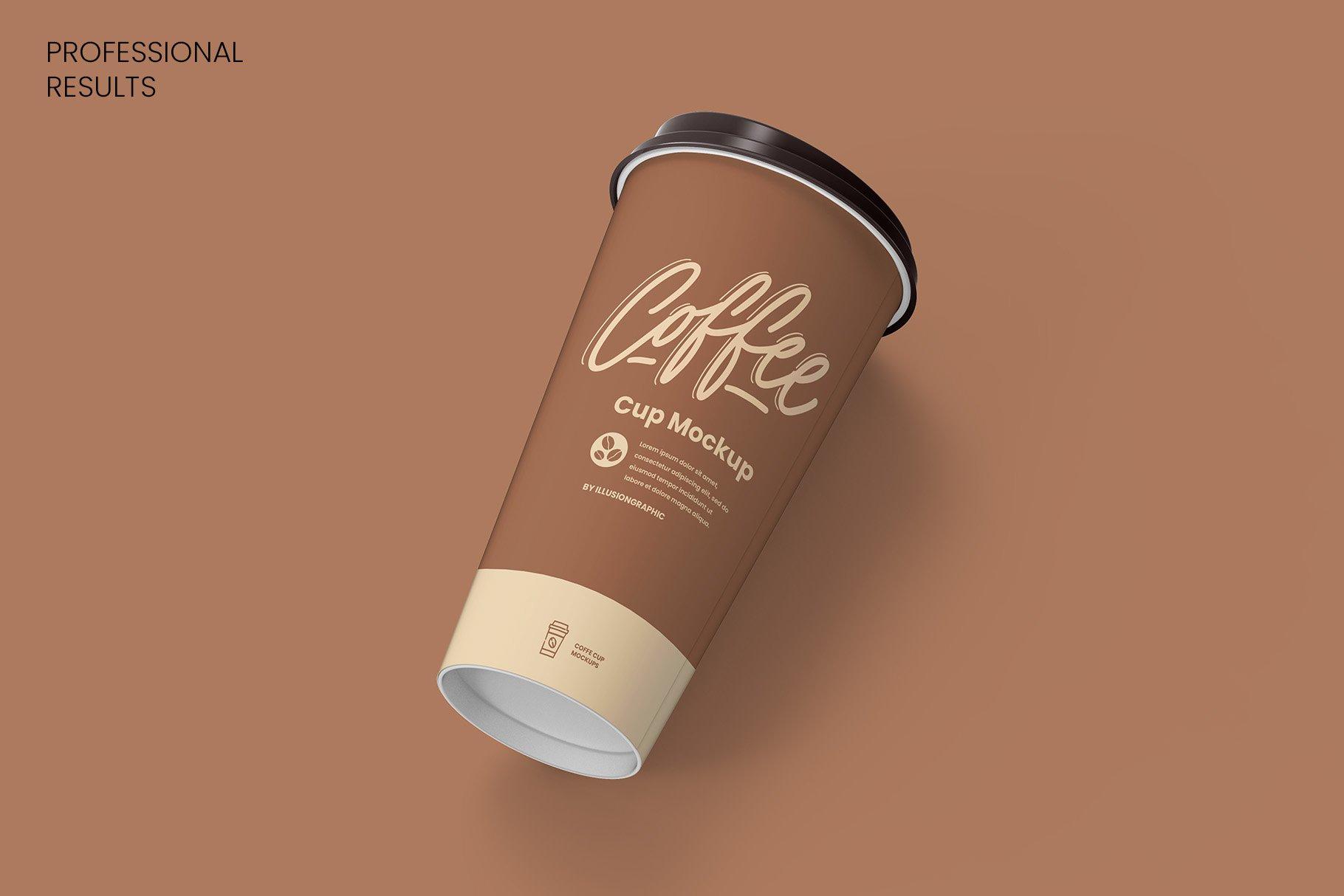 8个一次性咖啡外卖纸杯设计贴图样机模板 Coffee Cup Mockup – 8 views插图7
