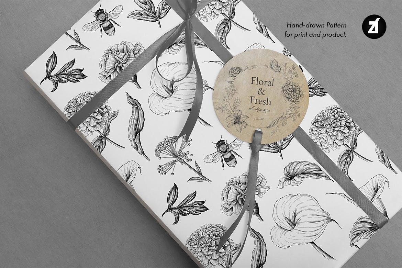 复古蒲公英手绘插画背景图案PS设计素材 Dandelion vintage illustration and pattern插图7